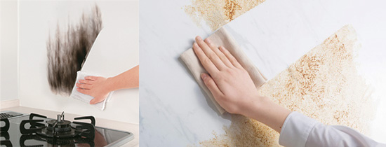 TAKARA琺瑯壁板耐高溫,不易沾附油汙,清潔更簡單!
