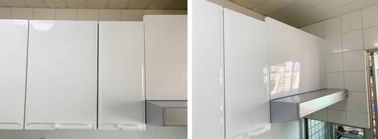 D女士找別家業者安裝TAKARA日本廚具,雙方溝通有誤解,上方櫃體竟未切齊。
