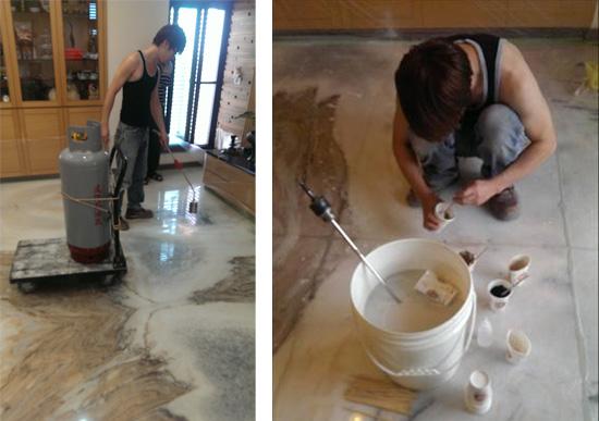 用噴槍加熱讓水氣快速蒸發烘乾,去除濕氣。 並依據石材色澤調配對應的黏膠顏色,使地面呈現一體成形的整體美感,<br /> 而非一塊一塊的切割地板。
