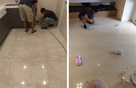 大理石拋光美容前,先將大理石地板石材接縫處切割,並做縫隙清潔。再依據石材色澤調配黏膠顏色,使大理石呈現一體成形的整體美感。