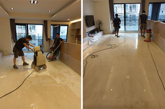 大理石研磨程序,還得將髒汙刮痕去除,以及大理石拋光,讓地板如鏡面般亮晶晶。