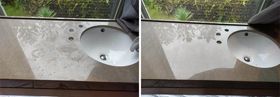 (左圖)原本的洗手檯面充滿水漬及髒污。(右圖)經再生研磨後,亮麗如新,原本的痕跡通通不見了!