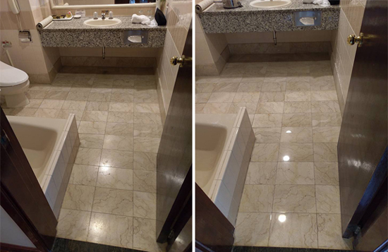 (左圖)原本的大理石地板無光澤且顏色較深。(右圖)再生研磨後地板就像打光似的,展現通透質地。