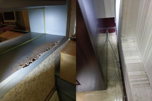 一點一點的小泥巴及粉屑,正是白蟻出沒的證據!「蟻道」就在牆壁邊。