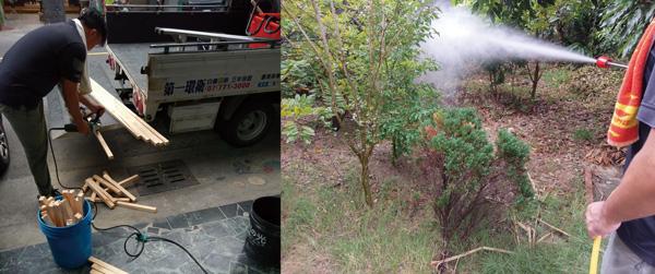 削尖的木頭浸泡藥水打入土壤,搭配長噴槍全面灑藥,發揮滅蟻絕佳效果。