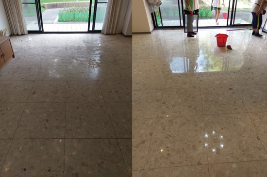 人造石地板石材美容前後對照圖。左圖是處理前的地板,霧化嚴重,在完成石材拋光後的晶化防護作業後,右圖可看出地板已完美呈現石材應有的光澤,甚至如同鏡子一般!可以看到它完整映照出天花板上的6顆燈泡了吧?真是太神奇了!