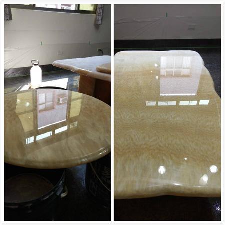 完成拋光清洗後,還要用水砂紙研磨,亮到可以當鏡子用,才算完成再生研磨的鏡面處理!