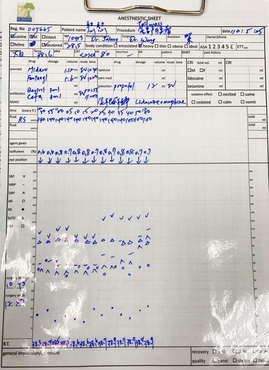麻醉過程的記錄表,監控每道環節。