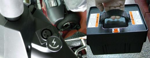 可從車頭直接充電或是手持碳酸電池充電,都很便利。