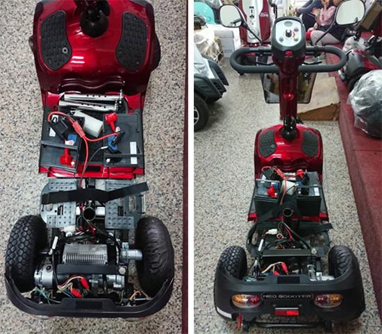 除了採用雙避震器,電動代步車後輪加寬、使用氣胎,都能提高行駛穩定度。