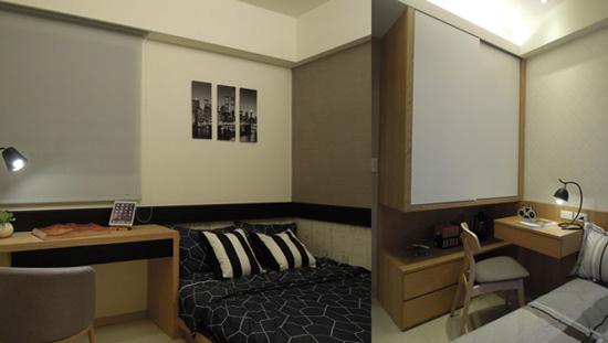 (左)把空間設計發揮最大功效~次臥起居坐臥、閱讀進修,皆能兼顧。(右)孩臥懸空式衣櫃設計:小坪數也能將居住巧思運用得淋漓盡致。