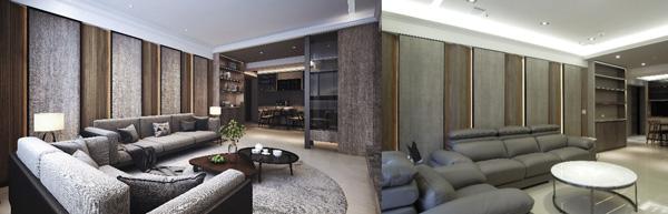 為了讓屋主更能想像設計畫面,采顥也有3D製圖的服務。左圖為3D設計圖,右圖為完工成品照片。