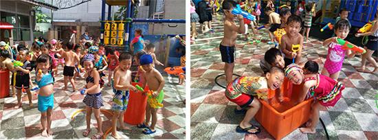 高雄楠梓區乖寶貝幼兒園孩子使出渾身解數拿起水槍掃射開戰啦!