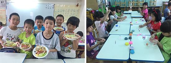 水火箭、畫水彩畫、動手做水果奶酪、製作創意蛋餅、捏樹脂土冰淇淋...,乖寶貝幼兒園多元學習讓暑假充實又豐富!(圖順序左上至右下)