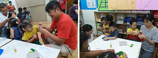 爸媽一起出動分享教養方式、生活經驗。 親子DIY共同製作桌墊,還有爸爸細心穿線,散發父愛光芒!