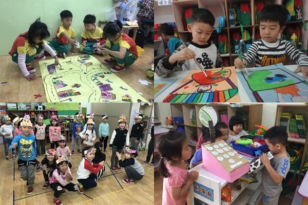 幼兒園孩子分組合作激盪想像力,實現心目中的社區夢。
