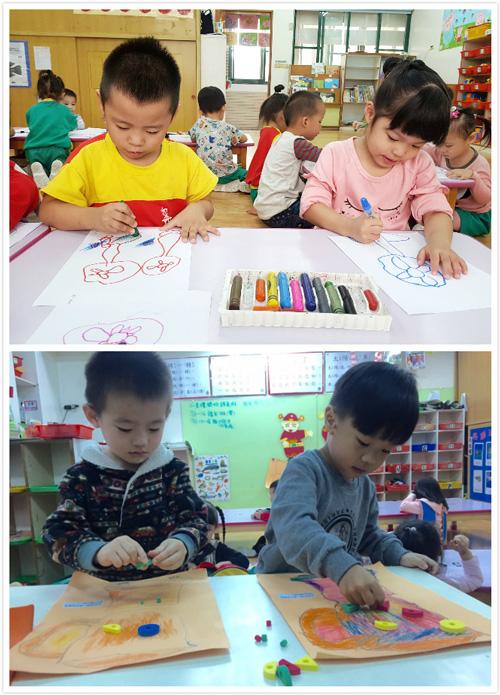 小班孩子觀察果汁機運作,嘗試使用拼貼、著色等多元媒材製圖。