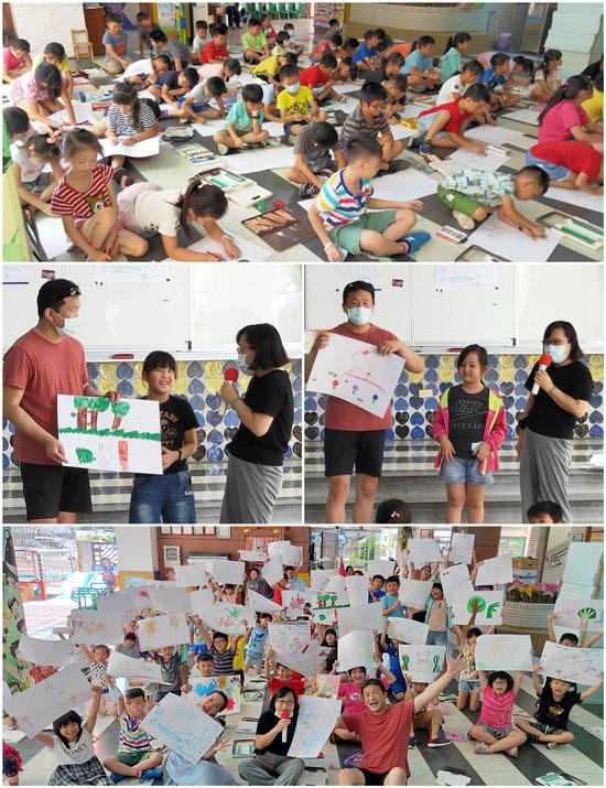 果子紅了繪本圖文作者導讀作品及分享手掌畫,相當受小朋友及老師喜愛。