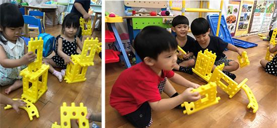 一起玩積木,童心園幼兒園的孩子們之間,激起創意的火花!