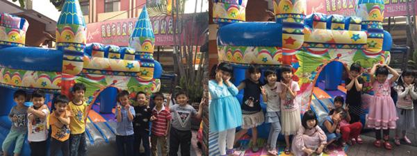 童心園幼兒園(雙語幼兒園)最新採購的氣墊城堡趕在畢業典禮前送達,所有孩子都能玩到。