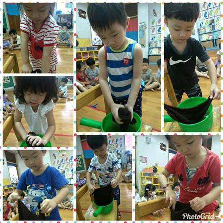 八月感恩月,童心園幼兒園教導孩子分擔家務,就從最簡單的「擰抹布」做起。