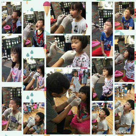 幼兒園孩子真的都好棒棒!一個個嘴巴張得大大的給牙醫叔叔檢查。