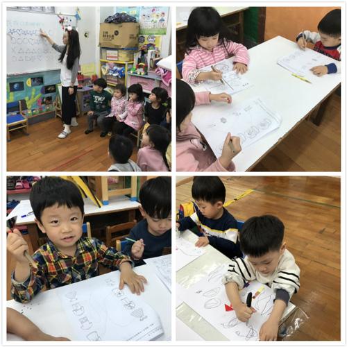 專注力施測,幼兒園老師會先講解,再讓孩子自行找到相同圖案連連看。