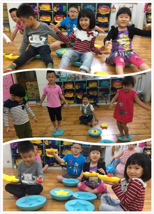 星球平衡墊可坐可站,正反面還能讓孩子有不同的觸覺感受。