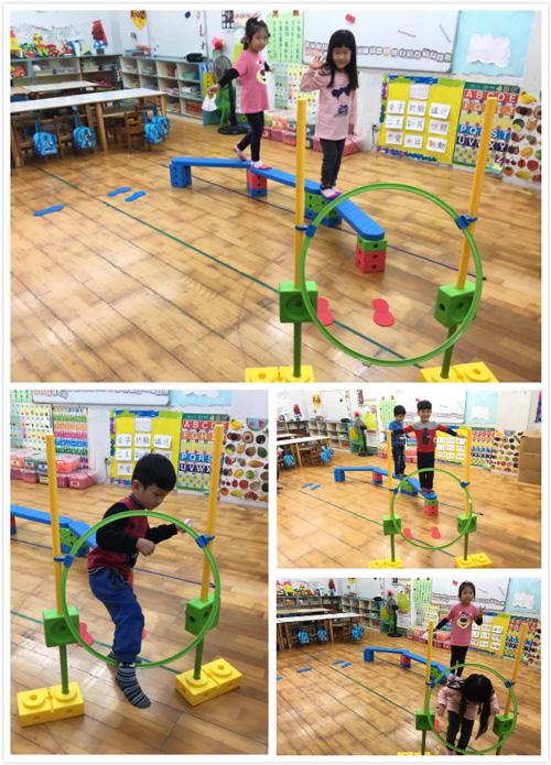 平衡木套組,讓幼兒園孩子練習身體平衡及肢體協調。