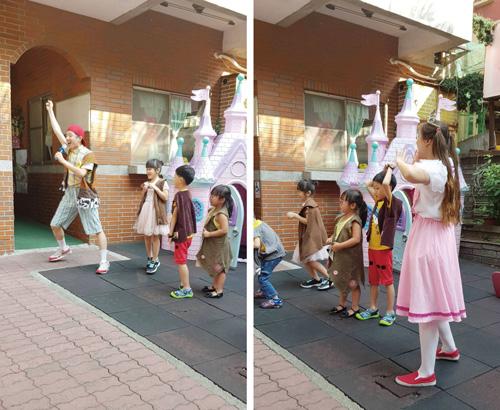 童心園幼兒園孩子與豆子劇團一起投入演出,場面相當歡樂。