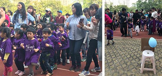 童心園幼兒園活動精采多元,一、二、一、二,大家準備齊步走。