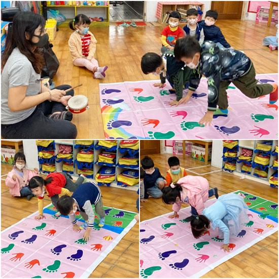 手忙腳亂遊戲設計,配合老師鈴鼓節奏,趣味性更強。