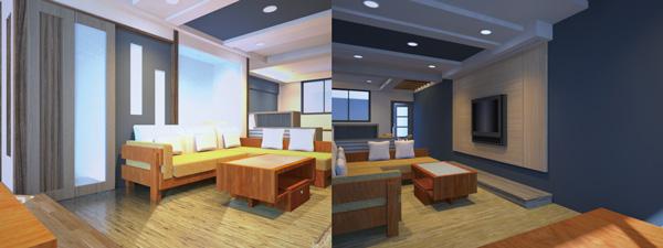 室內設計行動化趨勢來臨,行動支付將付款程序化繁為簡,廠商也更能夠及時留住客戶。案例:四樓公共空間以藍、白相間大面積的主題,搭配溫潤的木製家具,營造如同渡假般的休閒好心情。