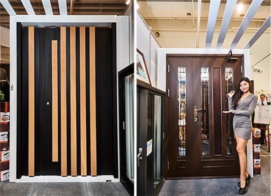 黑細砂T型格柵子母門、咖啡砂日式扁鋼造型子母門都是高雄上牌金屬門窗詢問度高的商品。