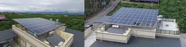 大坪數的平房屋頂,利用大面積的太陽能板達到良好隔熱效果。