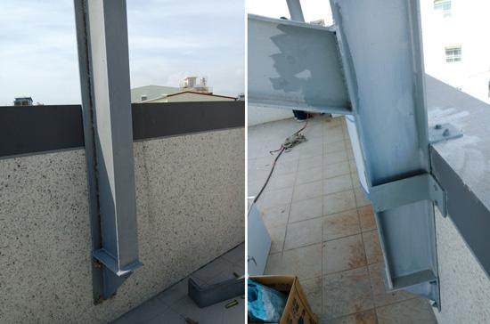 種電棚架銜接在女兒牆,並以斜撐增加大樑強度。