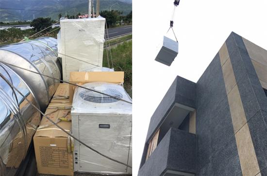 台東楓雅商旅訂製的熱泵熱水器,由高雄直送台東。現場用吊車將熱泵主機及儲水桶吊上頂樓,進行安裝事宜。