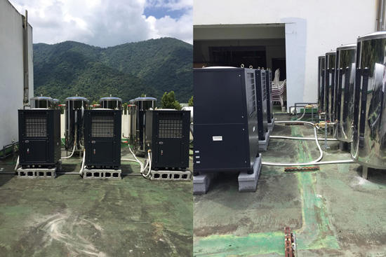 自然風熱泵熱水器量身規劃WA-30NT熱泵主機3台,搭配500L壓力桶8只串連,能提供源源不絕的熱水,給護理之家使用。