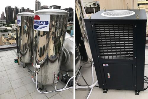 3T熱泵主機,搭配2個保溫桶,適合有浴缸或人數多的家庭。