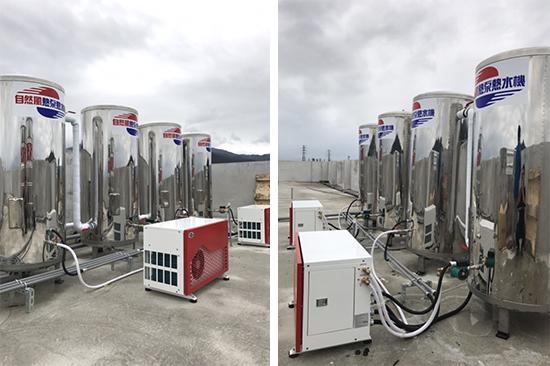 自然風熱泵規劃2台HA-12NT主機,搭配4個500L壓力桶。